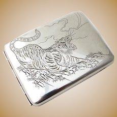 Japanese Engraved Tiger Large Cigarette Case 950 Sterling Silver