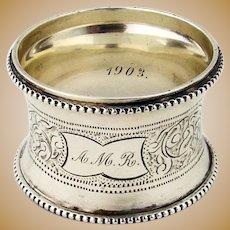 Engraved Waisted Napkin Ring Beaded Rims Coin Silver Mono