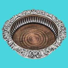 Regency Floral Scroll Wine Coaster Wooden Base Old Sheffield Plate