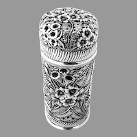 Rare Jakobi Jenkins Repousse Floral Sugar Caster Sterling Silver 1900s