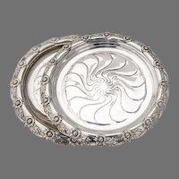 Tiffany Chrysanthemum Wine Coasters Pair Sterling Silver 1900 Mono