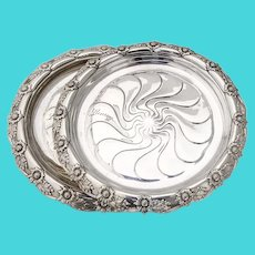 Tiffany Chrysanthemum Wine Coasters Pair Sterling Silver 1900 Mono