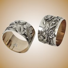 Aesthetic Pond Lily Napkin Rings Pair Shiebler Sterling Silver Mono