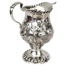 Georgian Repousse Fruit Beaded Creamer Sterling Silver 1775 London