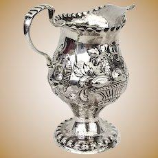 Georgian Repousse Fruit Beaded Creamer Sterling Silver 1775 London