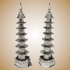 Chinese Export Silver Pagoda Form Salt Pepper Shakers Set Tuck Chang