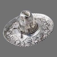 Ornate Floral Sombrero Hat Figurine Sterling Silver Mexico