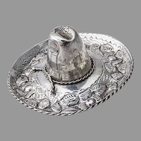 Ornate Floral Sombrero Hat Figurine Sterling Silver Mexico