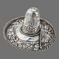 Mexican Floral Sombrero Hat Figurine Engraved Eagle Sterling Silver