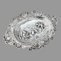 Hanau Repousse Scenic Pin Tray Karl Kurz 800 Silver English Import 1902