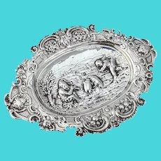 Hanau Repousse Scenic Pin Tray Karl Kurz 800 Silver English Import 1902