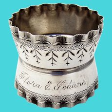 Engraved Waisted Napkin Ring Wavy Rims Wood Hughes Coin Silver Mono