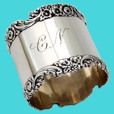 Floral Scroll Border Napkin Ring Meriden Britannia Sterling Silver Mono