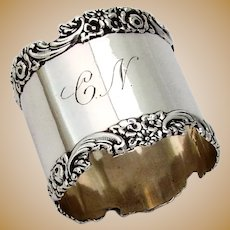 Floral Scroll Border Napkin Ring Meriden Britannia Sterling Silver Mono