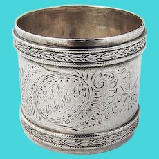 Engraved Napkin Ring Applied Embossed Rims Coin Silver Mono