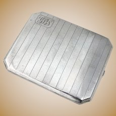 Chinese Hammered Striped Cigarette Case Tuck Chang Export Silver Mono