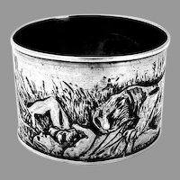 Scenic Tiger Attacking Hunter Napkin Ring Sterling Silver