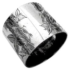 Aesthetic Engraved Ivy Napkin Ring Towle Sterling Silver 1890 Inscribed