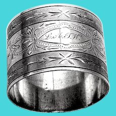 Bright Cut Engraved Milled Napkin Ring Coin Silver Mono