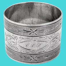 Milled Border Engraved Napkin Ring Coin Silver Mono