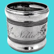 Herringbone Floral Napkin Ring Wood Hughes Coin Silver Inscribed