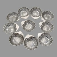 Shell Form 10 Nut Cups Set Sterling Silver