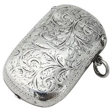 English Engraved Match Safe Coin Purse William Neale Sterling Silver 1897