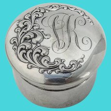 Repousse Scroll Small Dresser Jar Gilt Interior Wallace Sterling Silver Mono