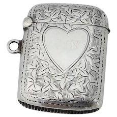 English Foliate Match Safe Heart Motif Joseph Gloster Sterling Silver 1901