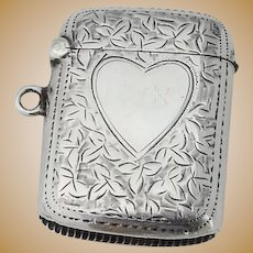 English Foliate Match Safe Heart Motif Joseph Gloster Sterling Silver 1901