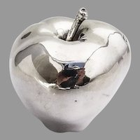 Life Size Decorative Apple Figurine Italian 970 Sterling Silver 1960