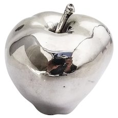 Life Size Decorative Apple Figurine Italian 970 Sterling Silver 1960