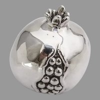 Life Size Decorative Pomegranate Figurine Italian 970 Sterling Silver 1960