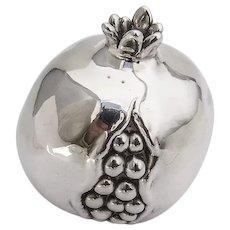 Life Size Decorative Pomegranate Figurine Italian 970 Sterling Silver 1960