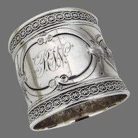 Ornate Napkin Ring Embossed Border Wood Hughes Sterling Silver Mono