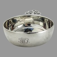 Tiffany Porringer Baby Bowl Pierced Oak Leaf Handle Sterling Silver Mono