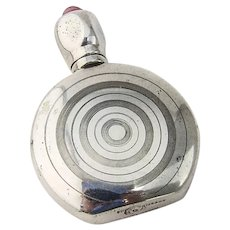 Mexican Round Perfume Bottle Pink Glass Inset Sterling Silver