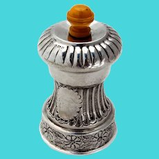 English Ornate Pepper Grinder Floral Base Sterling Silver 1947