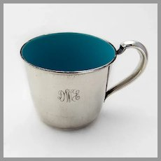 Blue Enamel Baby Childs Cup Reed Barton Sterling Silver Mono