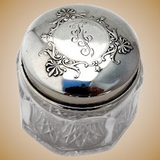 Small Cut Glass Dresser Jar Whiting Sterling Silver 1911 Date Mark Mono