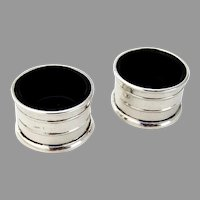 English Open Salts Pair Cobalt Liners William Vale Sterling Silver 1920