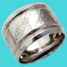Dutch Bright Cut Engraved Napkin Ring 835 Standard Silver 1917 Mono