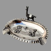Peruvian Llama Oval Ashtray Coin Cigarette Holders Sterling Silver
