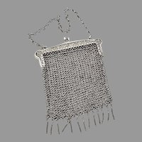 Chinese Export Silver Floral Mesh Chain Purse Leeching 1855