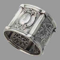Ornate Grape Fruit Napkin Ring Coin Silver 1855 Inscribed