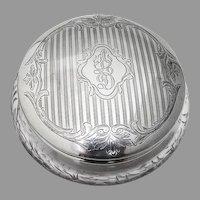 Engraved Foliate Dresser Jar Cut Glass Alvin Sterling Silver Mono