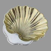Gorham Shell Bowl Gilt Interior Ball Feet Sterling Silver
