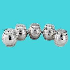 Japanese Round Salt Pepper Shakers Set Sterling Silver Boxed