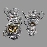 English Ornate Floral 4 Piece Tea Coffee Set Sterling Silver 1832 London