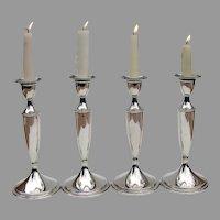 Old Maryland Plain 4 Candlesticks Set Kirk Son Sterling Silver 1927